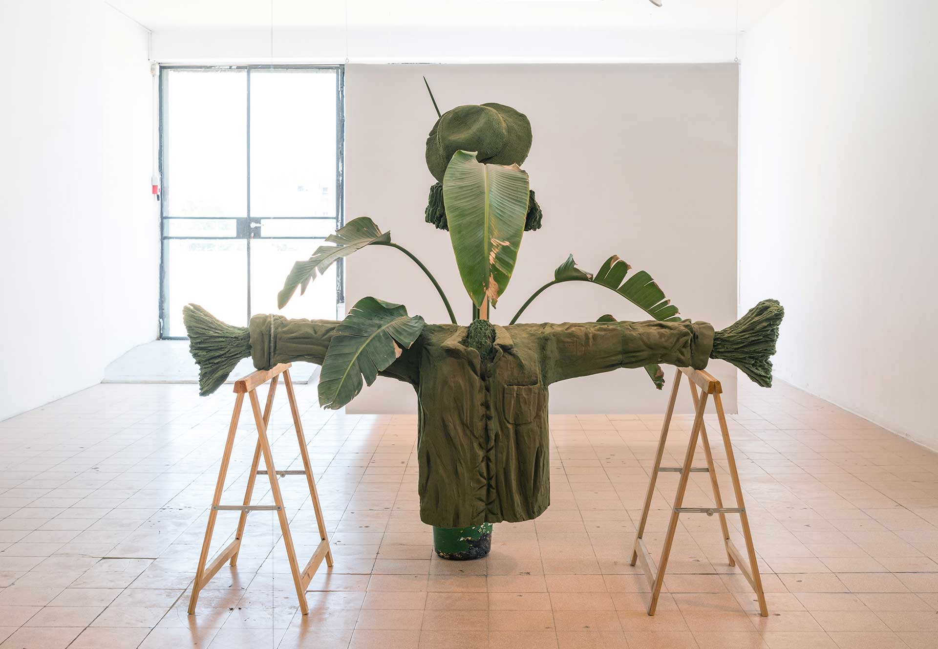 Untitled (scarecrow), 2017 Floral foam carving, flowerpot, plants, water,found object, 200 x 150 x 80 cm